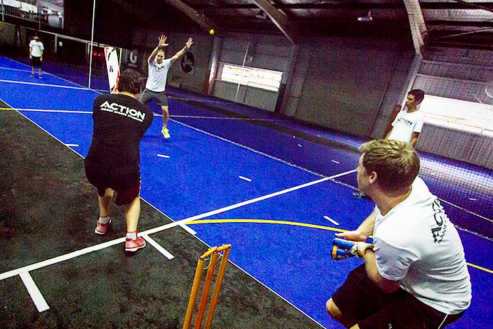 Indoor Cricket in action